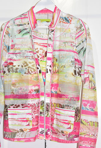 JUST WHITE 2 Piece Multi Print Jacket & Cami With Crochet Sleeves