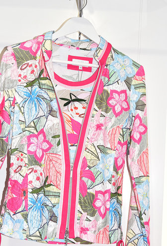 JUST WHITE Two Piece Floral Zip-Up Jacket & Cami