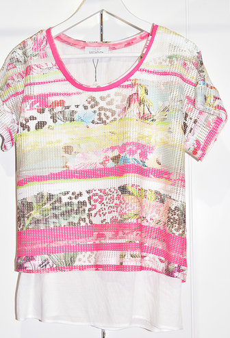 JUST WHITE Crochet Multi Print Top With Short Sleeve