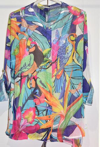 DECOLLAGE Sheer Bird Print Blouse
