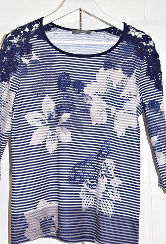 LIBRA Navy/White Floral Stripe Top