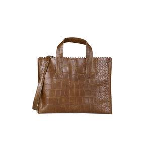 MYOMY MY PAPER BAG HANDBAG - BROWN CROCO
