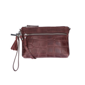 Lou Lou IDA CROCO CLUTCH - BORDEAUX