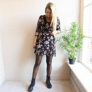 Rut & Circle NYA FLOWER DRESS - BLACK/PURPLE