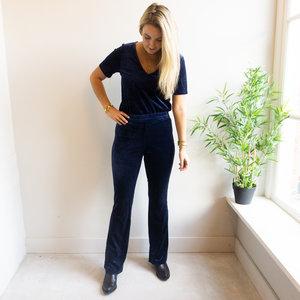 Rut & Circle JULE VELVET PANTS - NAVY