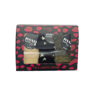 Pinned by K GIFTBOX SOCKS STARS - GOLD/BLACK