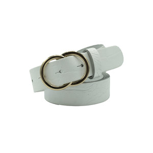 Elvy Bags DOUBLE RING BELT - WHITE/GOLD