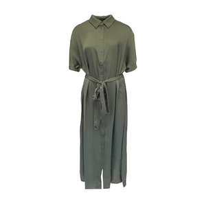 Rut & Circle TILDE LONG DRESS - KHAKI GREEN