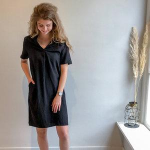 REBELZ V NECK DRESS - BLACK