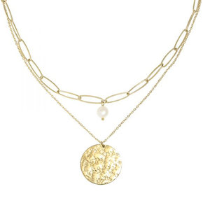 DOUBLE LAYERED STONE NECKLACE - GOLD