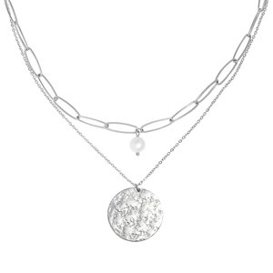 DOUBLE LAYERED STONE NECKLACE- SILVER