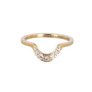 Charmin's CRYSTAL HALF MOON RING - GOLD