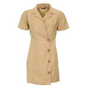 Rut & Circle CHLOE BUTTON DRESS - BEIGE