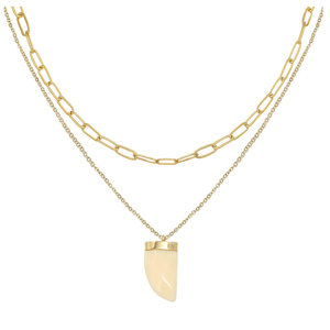 LOTZ & LOT MER TOOTH NECKLACE - GOLD/WHITE