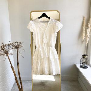 LOTZ & LOT RUFFEL EMBROIDERY DRESS - WHITE