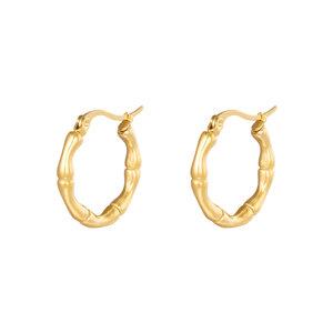Lotz & Lot EARRING HOOPS BAMBOO - GOLD 22 MM