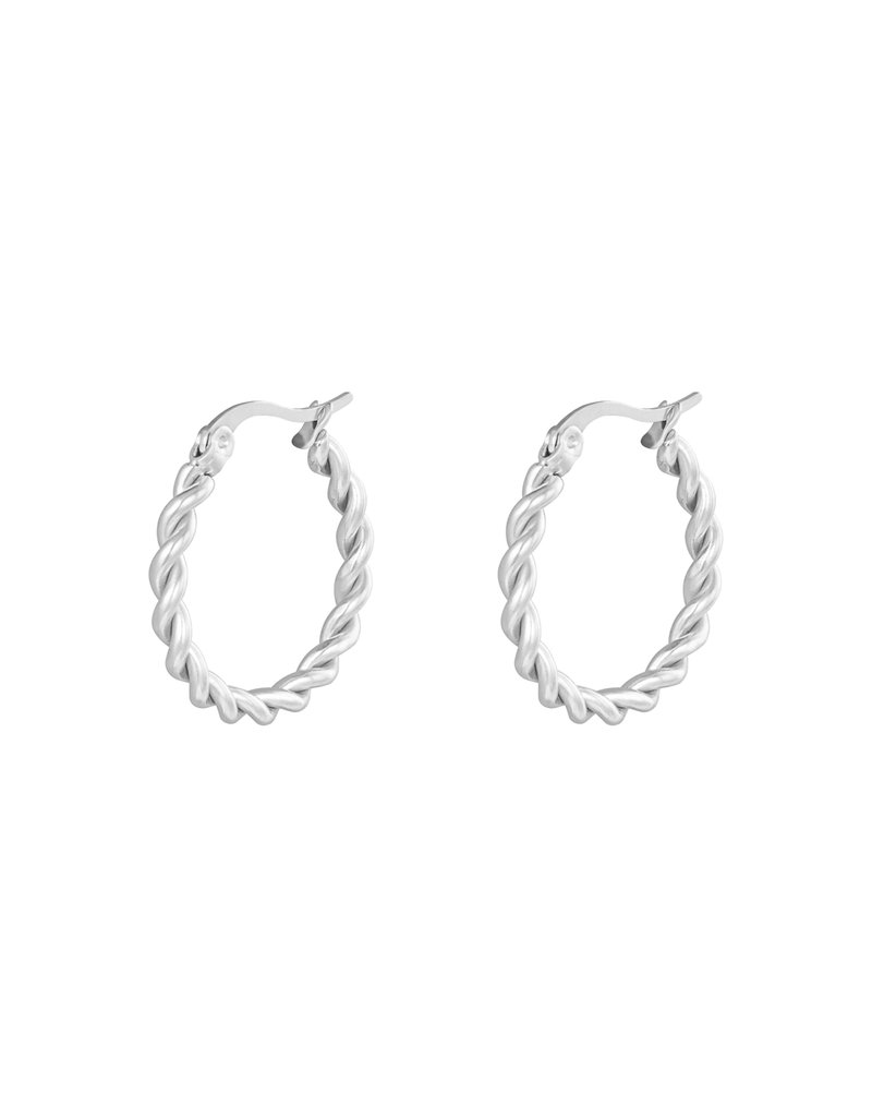 Lotz & Lot EARRING HOOPS TWINE - SILVER 22 MM