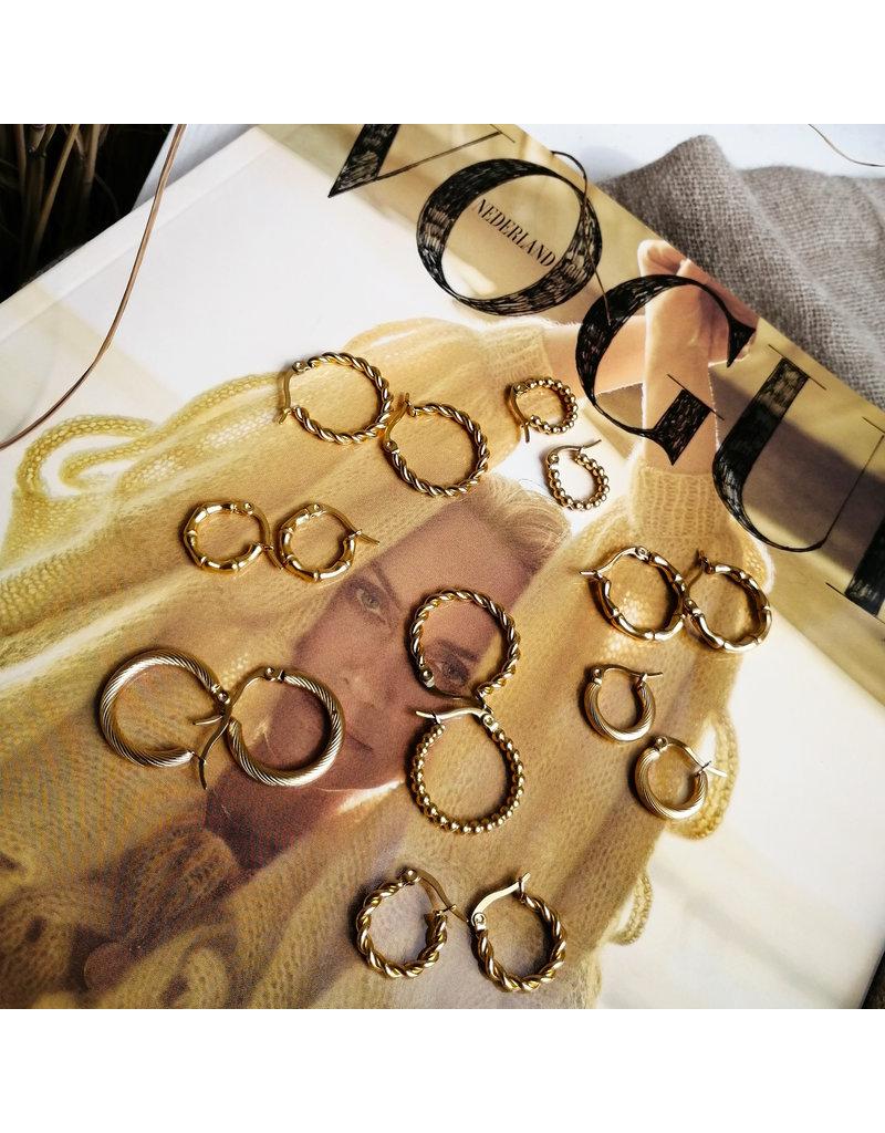 Lotz & Lot EARRING HOOPS TWISTED - GOLD 15 MM