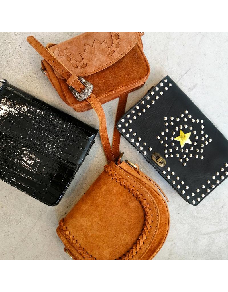 Studs & Stones KAAT GOLDEN STAR BAG - BLACK