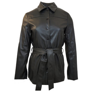 Rut & Circle QUINCY LEATHER BLOUSE - BLACK