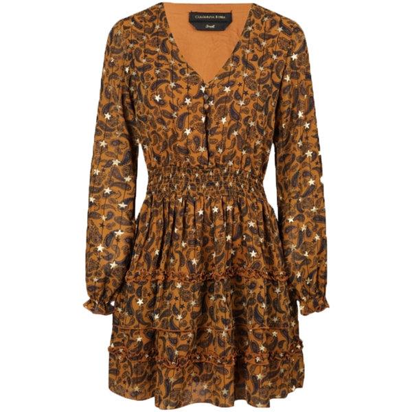 Colourful Rebel PRESLEY PAISLEY DRESS - BROWN