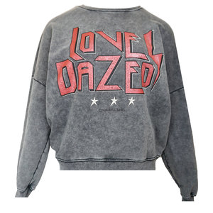 Colourful Rebel LOVE DAZED ACID WASH SWEAT - GREY