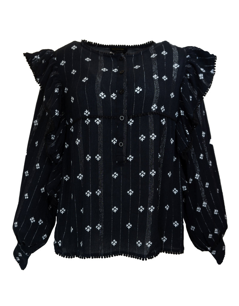 Colourful Rebel ALLY GIPSY RUFFLE BLOUSE BLACK AND WHITE