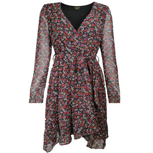 Colourful Rebel ZIGGI FLOWER MINI WRAP DRESS - RED/PURPLE