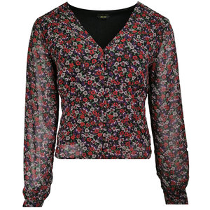 Colourful Rebel ELIN FLOWER V-NECK BLOUSE - RED/PURPLE
