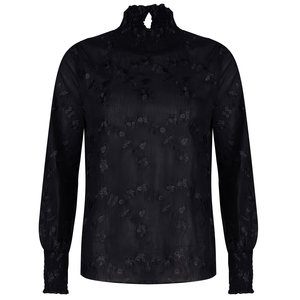 Ydence JAMIE EMBROIDERY TOP - BLACK