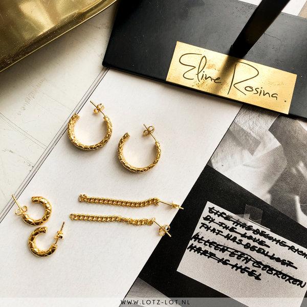 Eline Rosina CHUNKY SNAKE HOOPS - GOLD