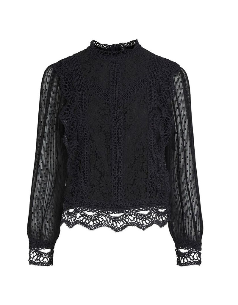YAS JUUL LACE TOP - BLACK