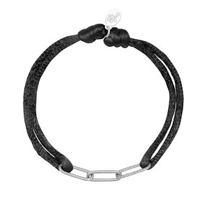Lotz & Lot BRACELET SATIN CHAINS - BLACK/SILVER