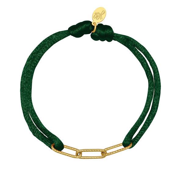 Lotz & Lot BRACELET SATIN CHAINS - DARK GREEN/GOLD