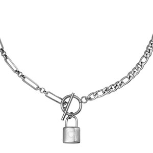 Lotz & Lot NECKLACE CHAIN&LOCK - SILVER