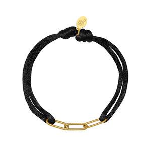 Lotz & Lot BRACELET SATIN CHAINS - BLACK/GOLD