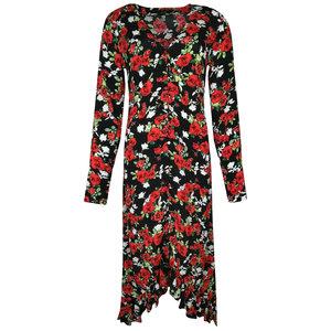 Colourful Rebel MEGAN ROSES HIGH LOW DRESS - BLACK