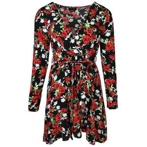 Colourful Rebel ZIGGY ROSES MINI WRAP DRESS - BLACK