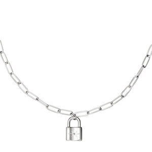 NECKLACE CHAIN&LOCK STAR - SILVER