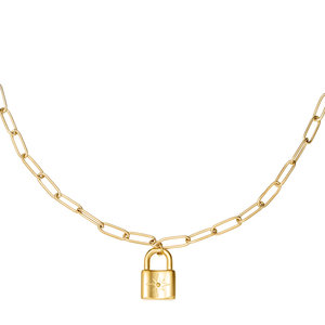NECKLACE CHAIN&LOCK STAR - GOLD