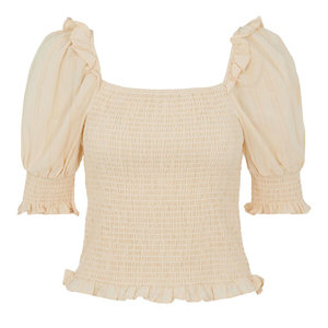 Y.A.S SIL SMOCK TOP - BEIGE