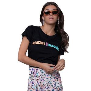Colourful Rebel PEACHES&BEACHES CLASSIC TEE - WOMAN BLACK