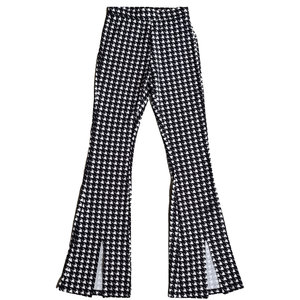 Colourful Rebel DARCY DOGTOOTH SLIT FLARE - BLACK/WHITE