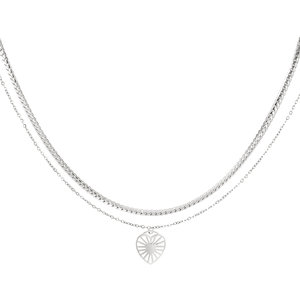 Yehwang DOUBLE NECKLACE HEART - SILVER