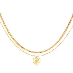 Yehwang DOUBLE NECKLACE HEART - GOLD