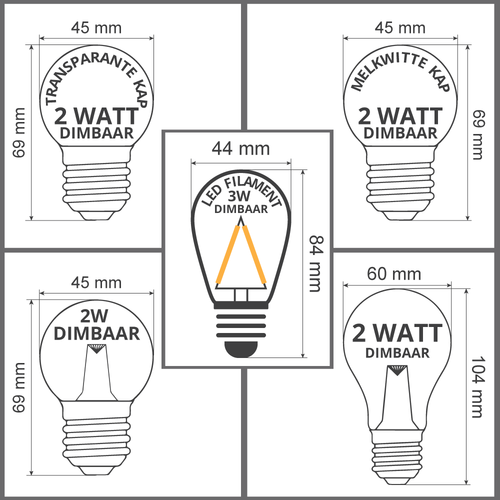 Dimbare LED lampen, warm wit, 2 watt & 3 watt