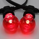 1 watt, rood, rode grote transparante kap Ø60