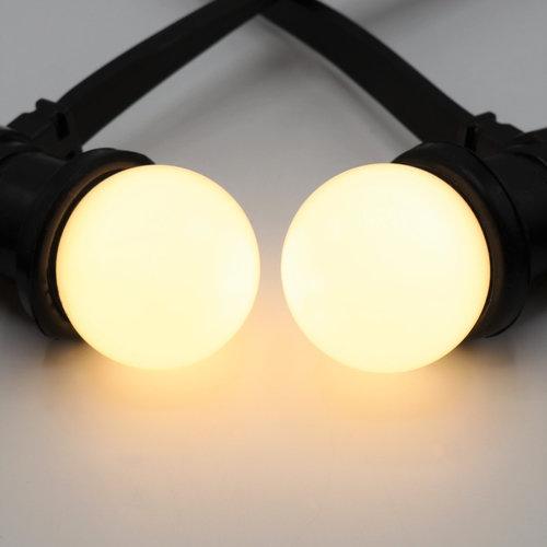 Warm witte LED lampen met standaard melkwitte kap, Ø45