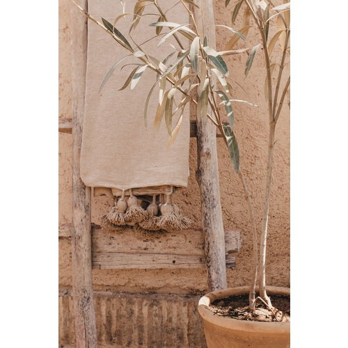 Pompom deken camel 200x300 cm