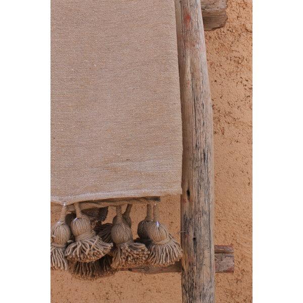 Pompom deken camel